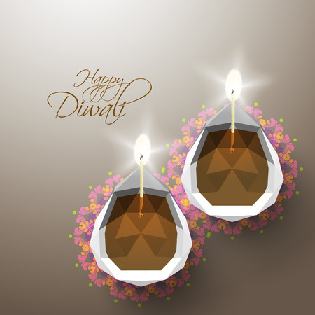 Vector Polygonal Diwali Diya  Oil Lamp
