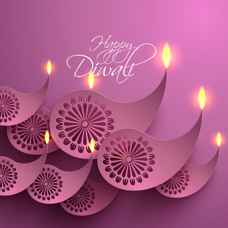 vector lamp: Vector Paper Diwali Diya  Oil Lamp