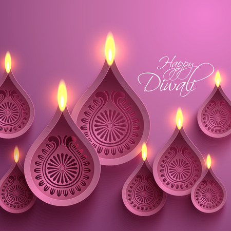 oil lamp: Vector Papel Diwali Diya Vel�n