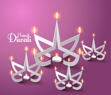 Vector Paper Sculpture of Diwali Diya  Oil Lamp    イラスト・ベクター素材