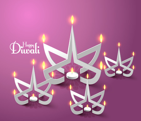 Vector Paper Sculpture of Diwali Diya  Oil Lamp   Illustration