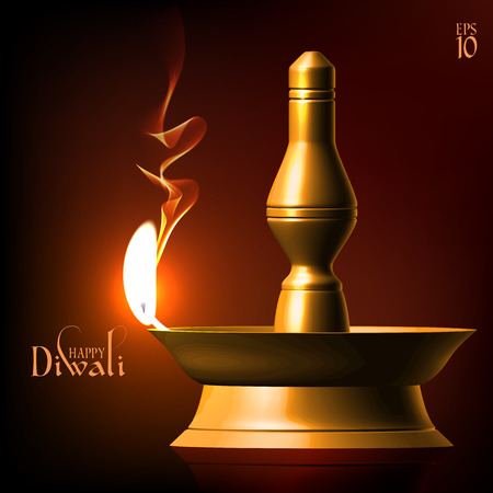 jain: Vector Diwali Oil Lamp