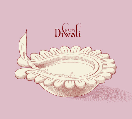 lampa naftowa: Wektor Diwali Oil Lamp Ilustracja