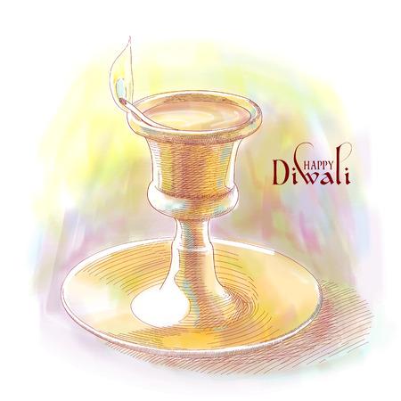 an oil lamp: Vector Diwali Lámpara de aceite