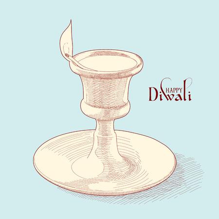 oil lamp: Vector Diwali Oil Lamp