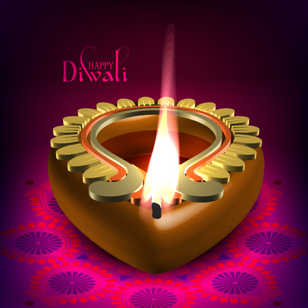 Vector Diwali Oil Lamp Vector
