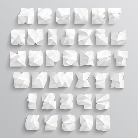 clipart wrinkles: Vector Crumpled Paper Alphabet Set