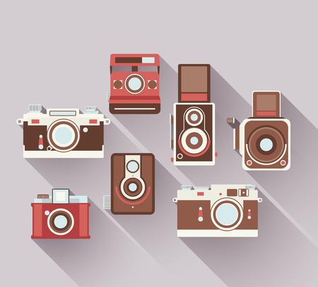 color digital camera: Vector 2D Flat Retro Cameras
