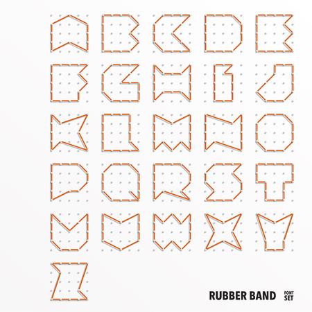 rubberband: Vector Rubber Band Alphabet Set Illustration