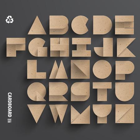 Vector Cardboard Alphabet Set Ilustrace