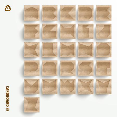corrugated cardboard: Vector Cardboard Alphabet Set Illustration