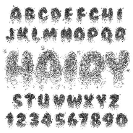 dusty: Vector Hairy Alphabet Set