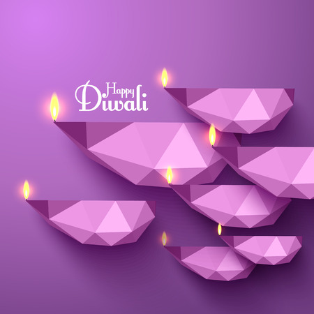 jain: Vector Diwali Diya (Oil Lamp). Illustration