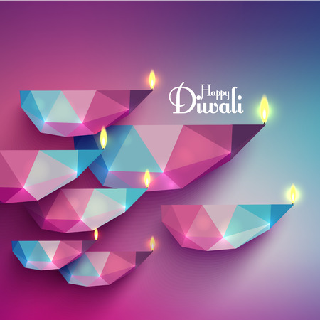 polygonal: Vector Diwali Diya (Oil Lamp). Illustration