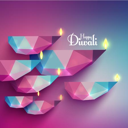 Vector Diwali Diya (Oil Lamp). Stock Illustratie