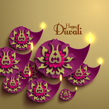 Vector Diwali Diya (Oil Lamp). Vector