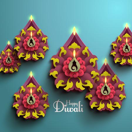 Vector Diwali Diya (Oil Lamp). Illusztráció