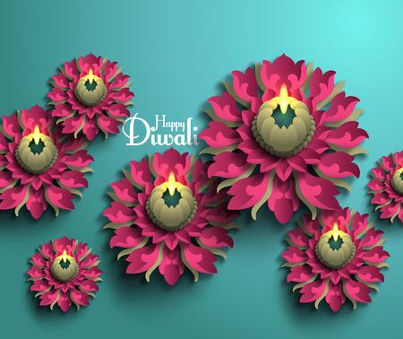 Vector Diwali Diya (Oil Lamp). Ilustração