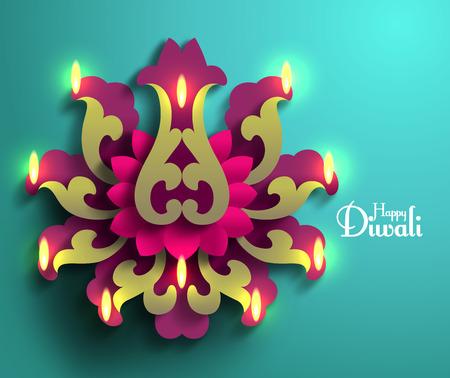 flower lamp: Vector Diwali Diya (Oil Lamp). Illustration