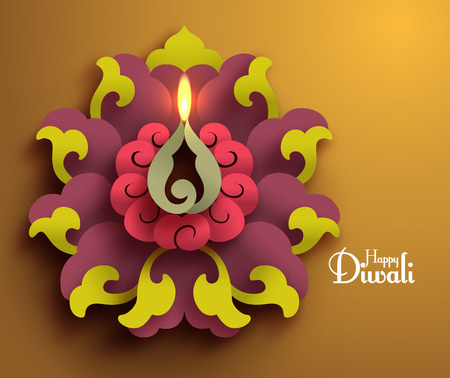 Vector Diwali Diya (Oil Lamp). Vector