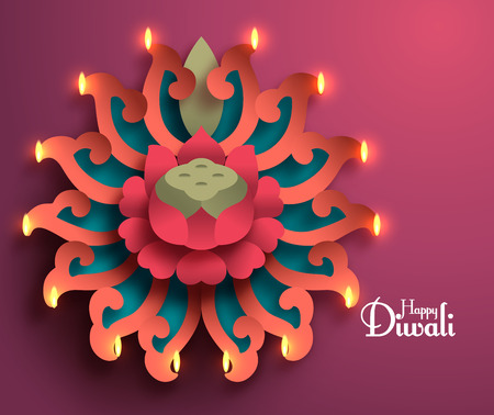 Vector Diwali Diya (Oil Lamp). Çizim