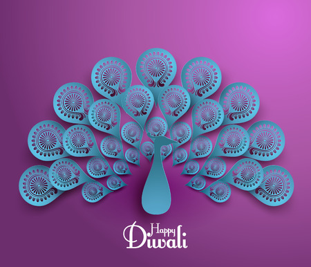 diwali greeting: Vector Diwali Peacock