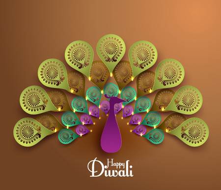 peacock design: Vector Diwali Peacock