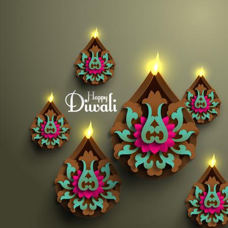 diya: Vector Diwali Diya (Oil Lamp). Illustration