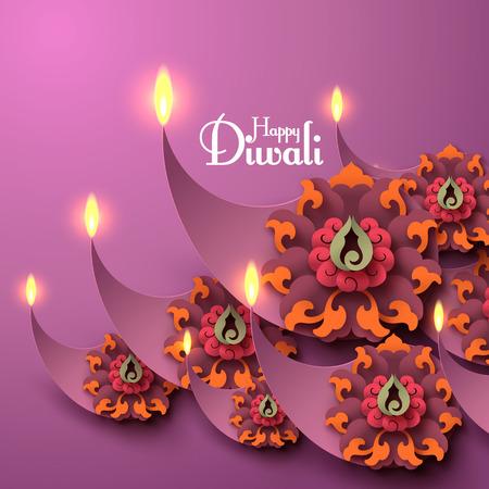 cempasuchil: Vector Diwali Diya (l�mpara de aceite).