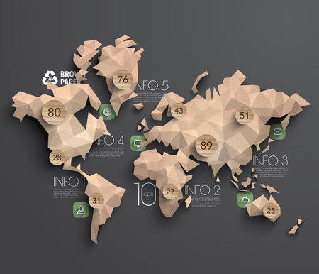 Vector Brown Paper Polygonal World Map Graphics Vector