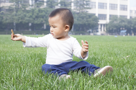 bebes lindos: Cute Chinese baby boy sitting on meadow Foto de archivo