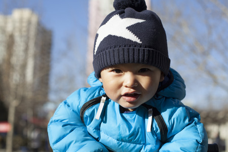 12 18 months: Portrait of a Chinese baby boy, shot in Beijing, China Stock Photo