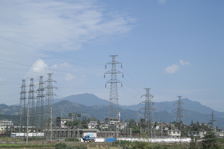 sichuan province: Electricity Pylon, shot in Sichuan Province, China