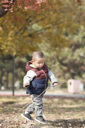 Chinese baby boy playing a stick in Forest Park, Beijing, China