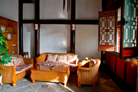 wen: Guizhou Anshun Wen Temple Furniture Stock Photo
