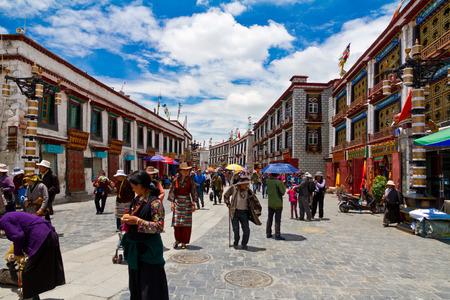 tibetan house: Barkhor Street in Lhasa, Tibet