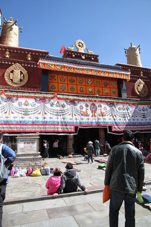 pious: Jokhang Temple in Lhasa, Tibet Editorial