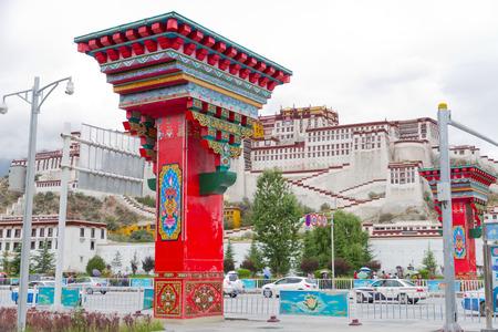 potala: Potala Palace Square in Lhasa, Tibet pillars Editorial