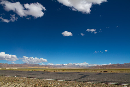 lost lake: Tibetan landscape Stock Photo