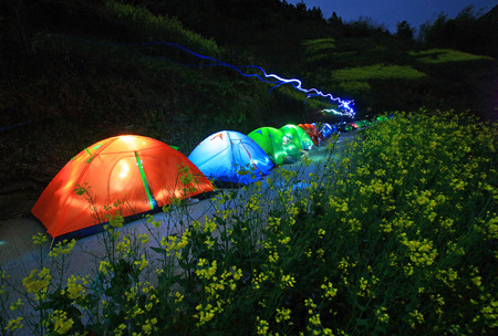 pitched: Camping tents on the hiking trails of the hill Stock Photo