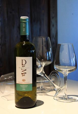 beverage display: Wine bottle and glasses