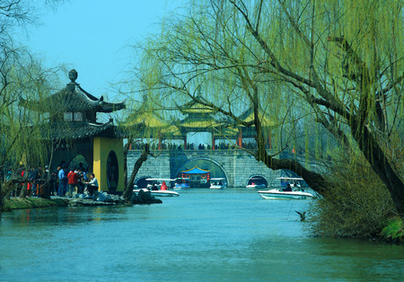 gazebo: Traditional chinese gazebo on stone bridge