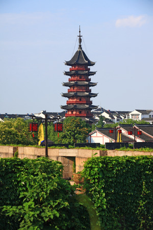 chinese pagoda: A chinese pagoda in a housing area Stock Photo