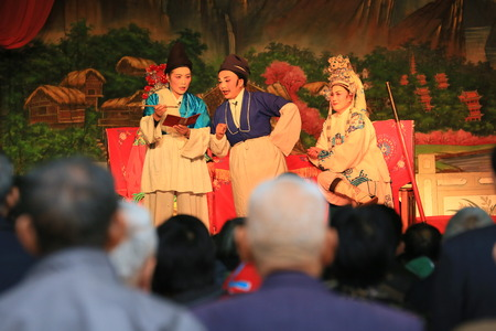 only senior women: Chinese opera performers performing at the Yinjiang temple