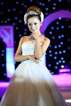 bridal gown: Fashion model in bridal gown posing