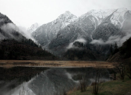 snowcapped: Snow-capped mountains by the lake