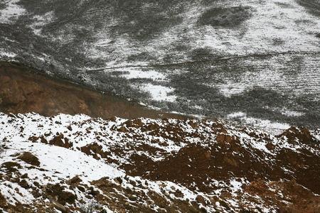 snowy field: Walkway across snowy field