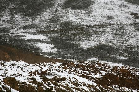 polar climate: Walkway across snowy field