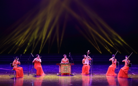 pipa: Women performing with traditional chinese musical instruments Editorial