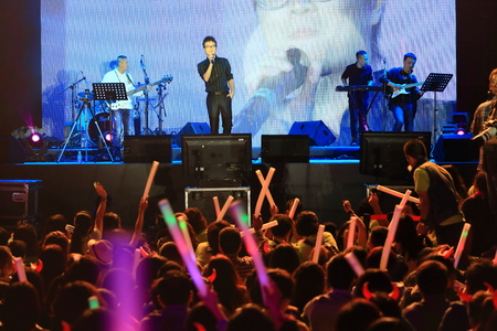 crowd cheering: Crowd cheering for singer on stage